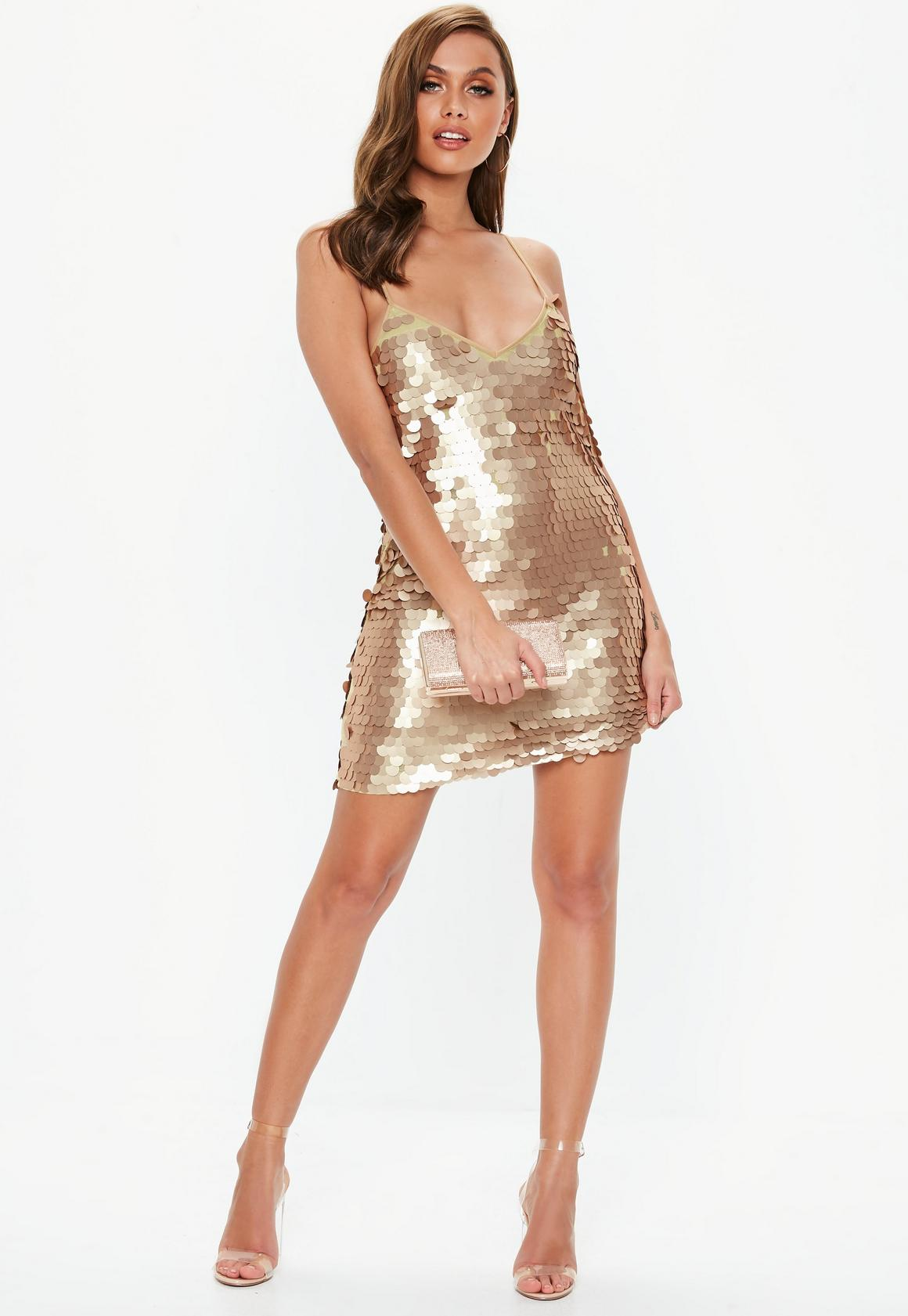 gold matte disk sequin cami shift dress