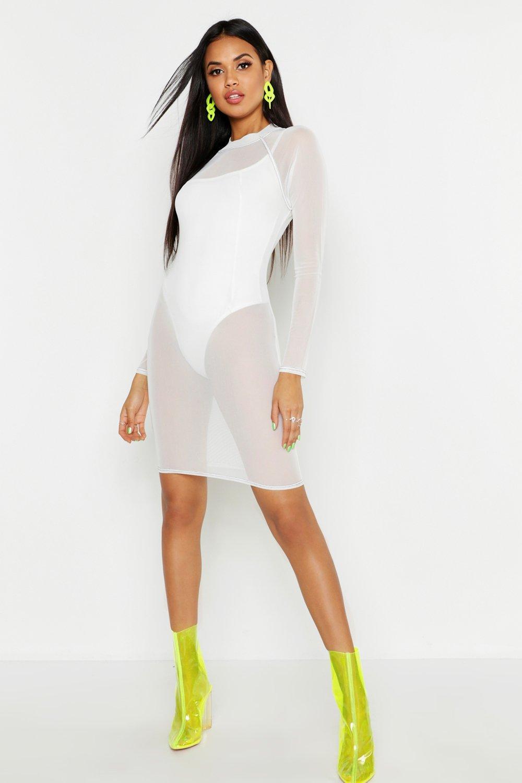High Neck Mesh Seam Detail Mini Dress