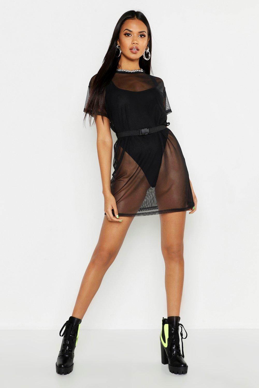 Mesh Buckle Belt Detail T-Shirt Dress