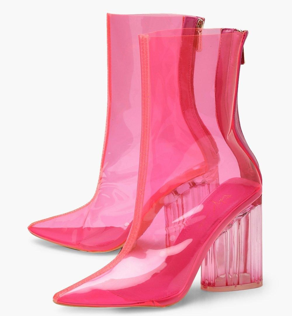 Neon Clear Block Heel Shoe Boots