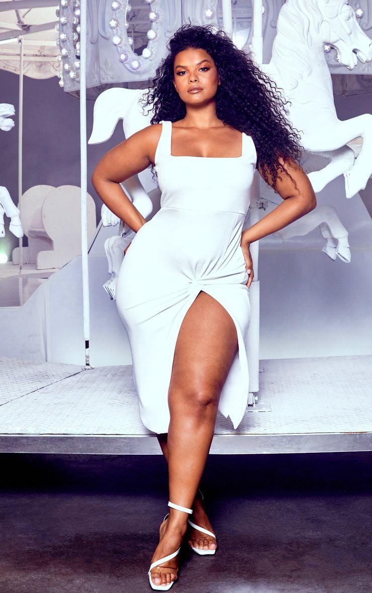 Plus White Twist Extreme Split Midi Dress