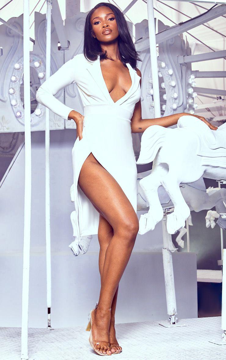 PrettyLittleThing White Collection White Extreme Split Midi Blazer Dress