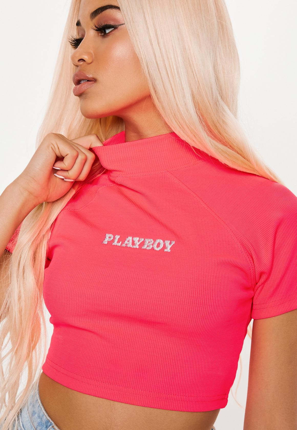 playboy x missguided neon pink high neck ribbed crop top