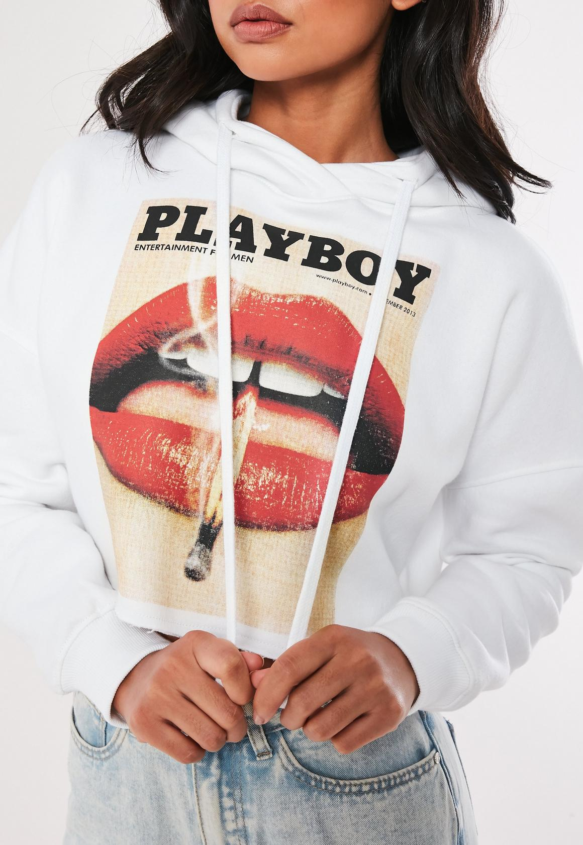 playboy x missguided white lips print cropped hoodie