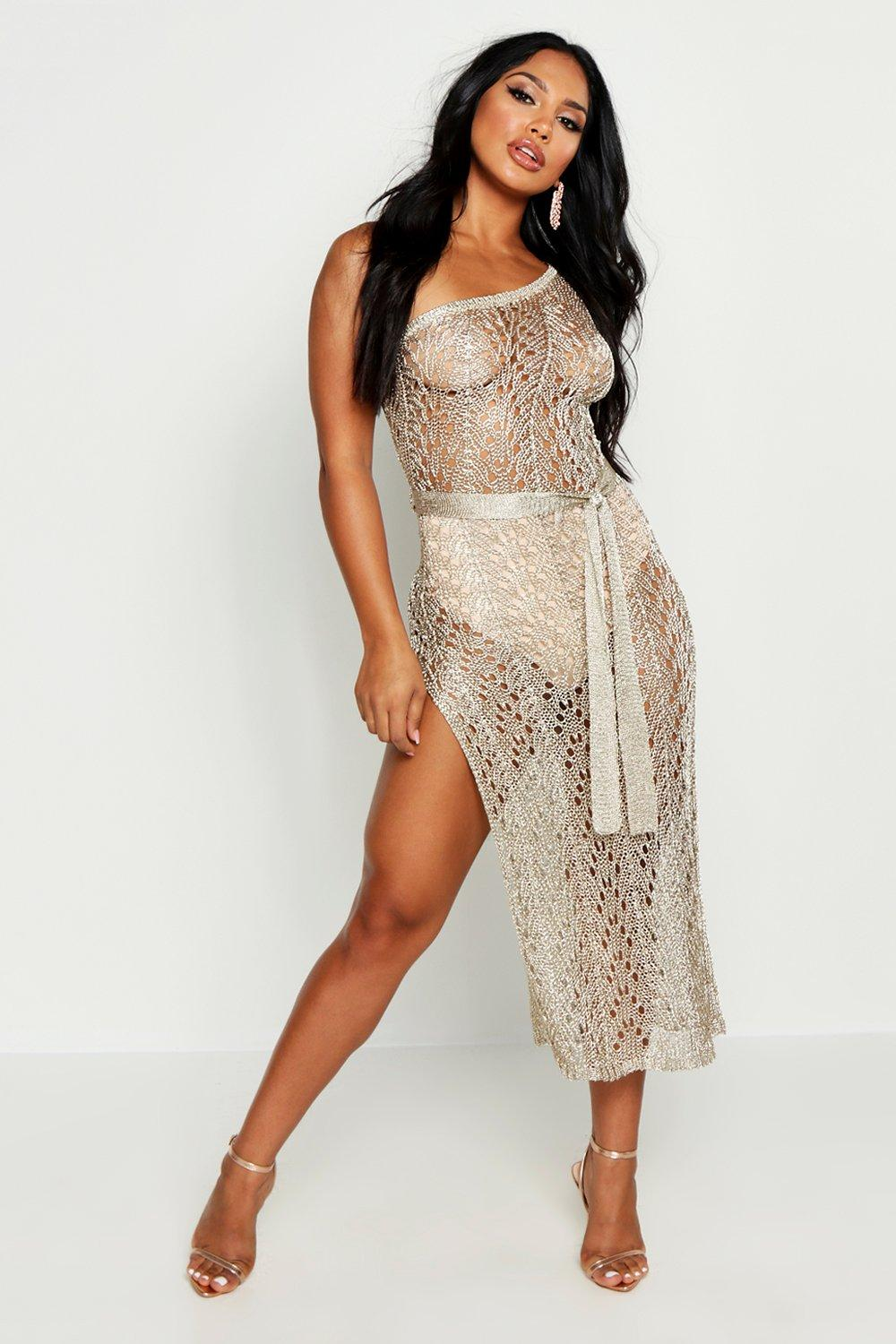 Boohoo Holiday Shop One Shoulder Metallic Knitted Dress