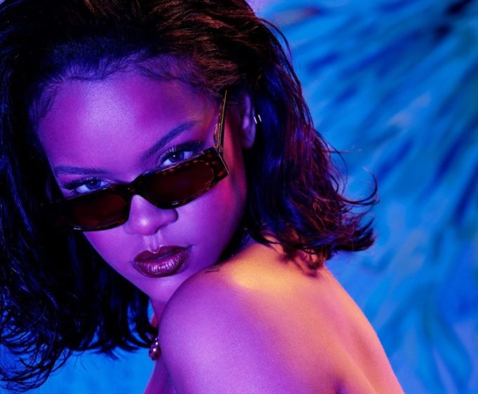 Savage x Fenty designer Rihanna wears strapless bra design