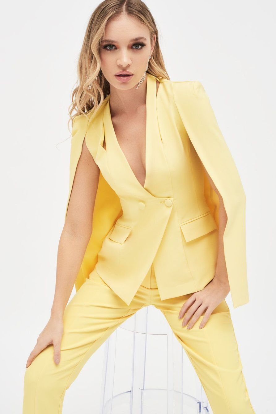 lavish alice cut out shoulder collarless blazer in yellow