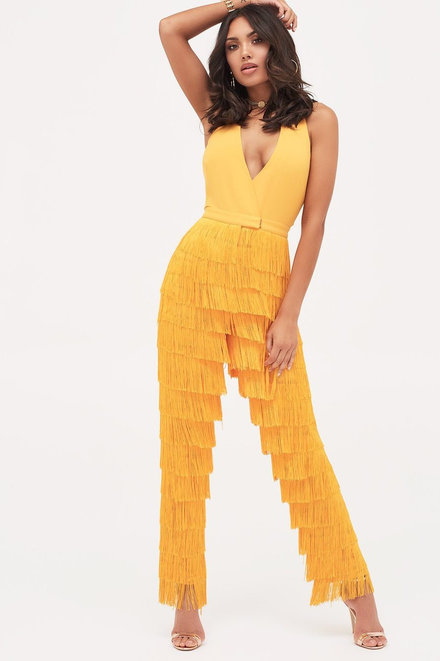lavish alice halterneck fringe jumpsuit in golden yellow