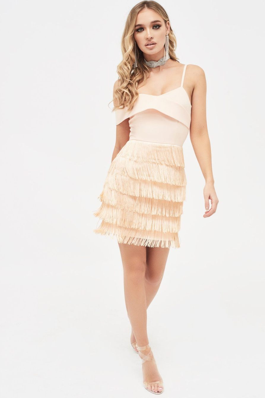 off shoulder fringe mini dress in nude