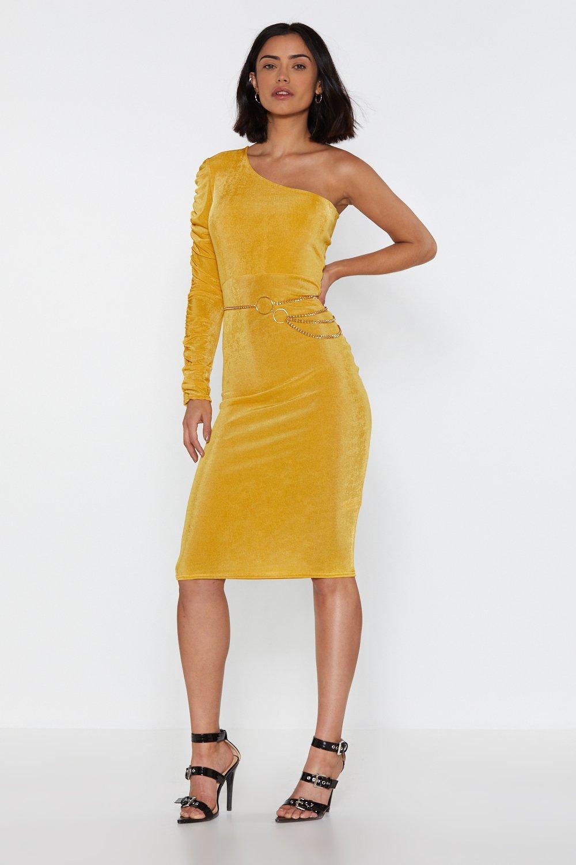 Gold Ruche One Shoulder Midi Dress