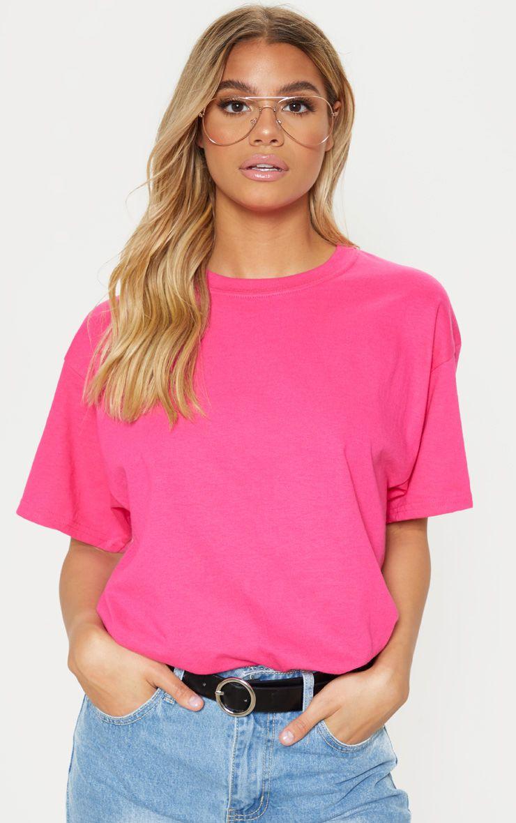 Hot Pink Oversized Boyfriend T Shirt