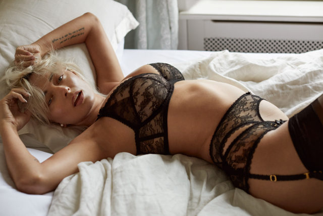Caroline Vreeland wear sultry Agent Provocateur lingerie