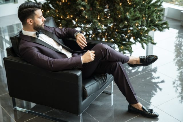 man in a wedding suit