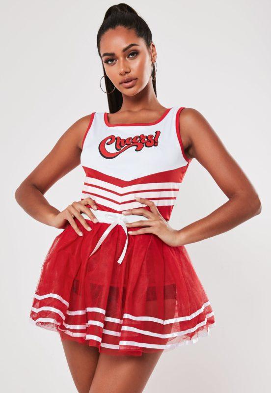 red stripe cheerleader vest and tutu set