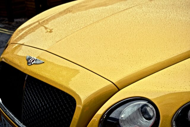 Close of photos of a Yellow Bentley