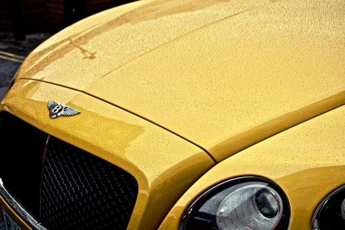 Close of photos of a Yellow Bentley