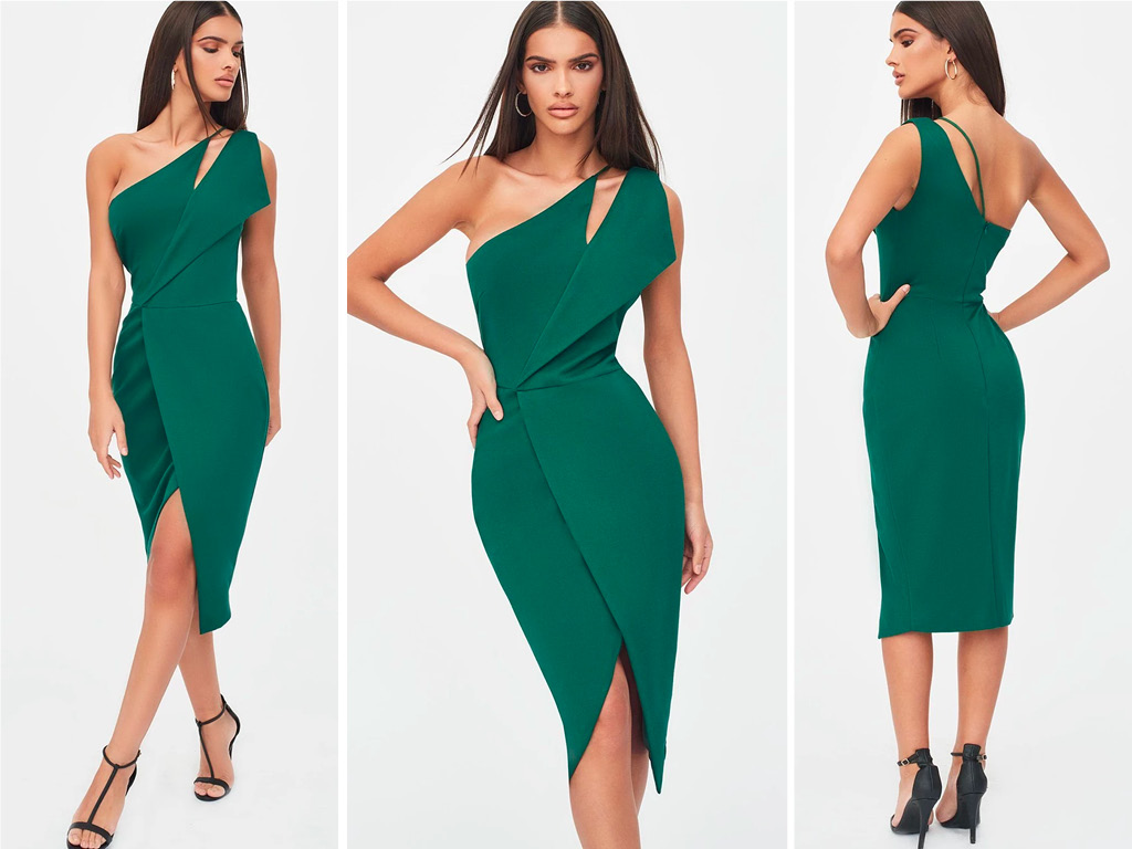 One-shoulder cutout midi wrap dress in emerald green