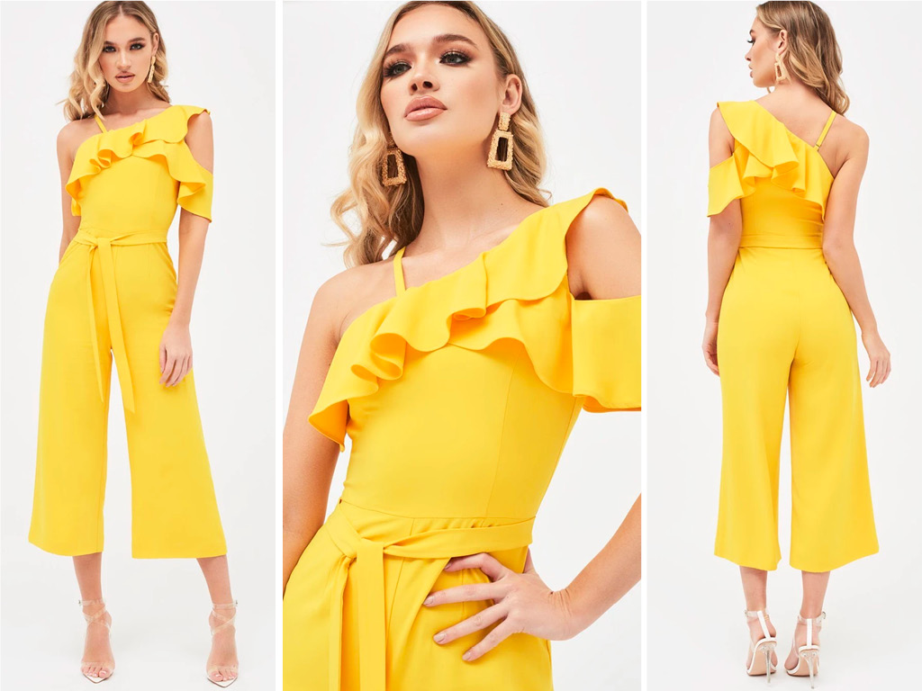 One-shoulder ruffle belted culotte jumpsuit in sunshine yellow