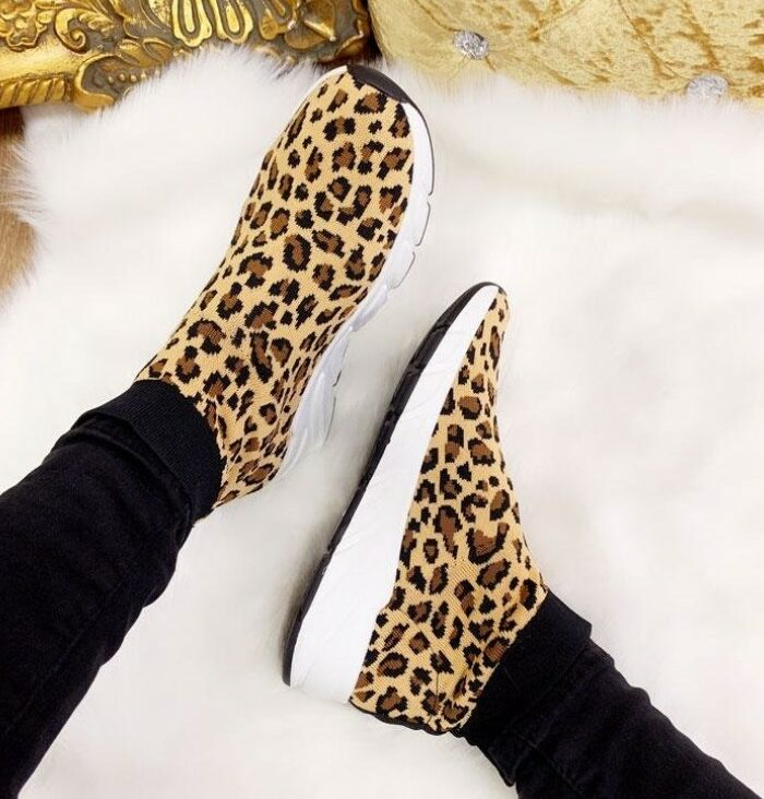 Pasha Leopard Chunky Sock Trainers