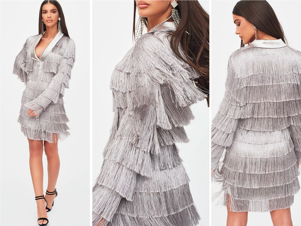 fringe blazer dress in metallic silver