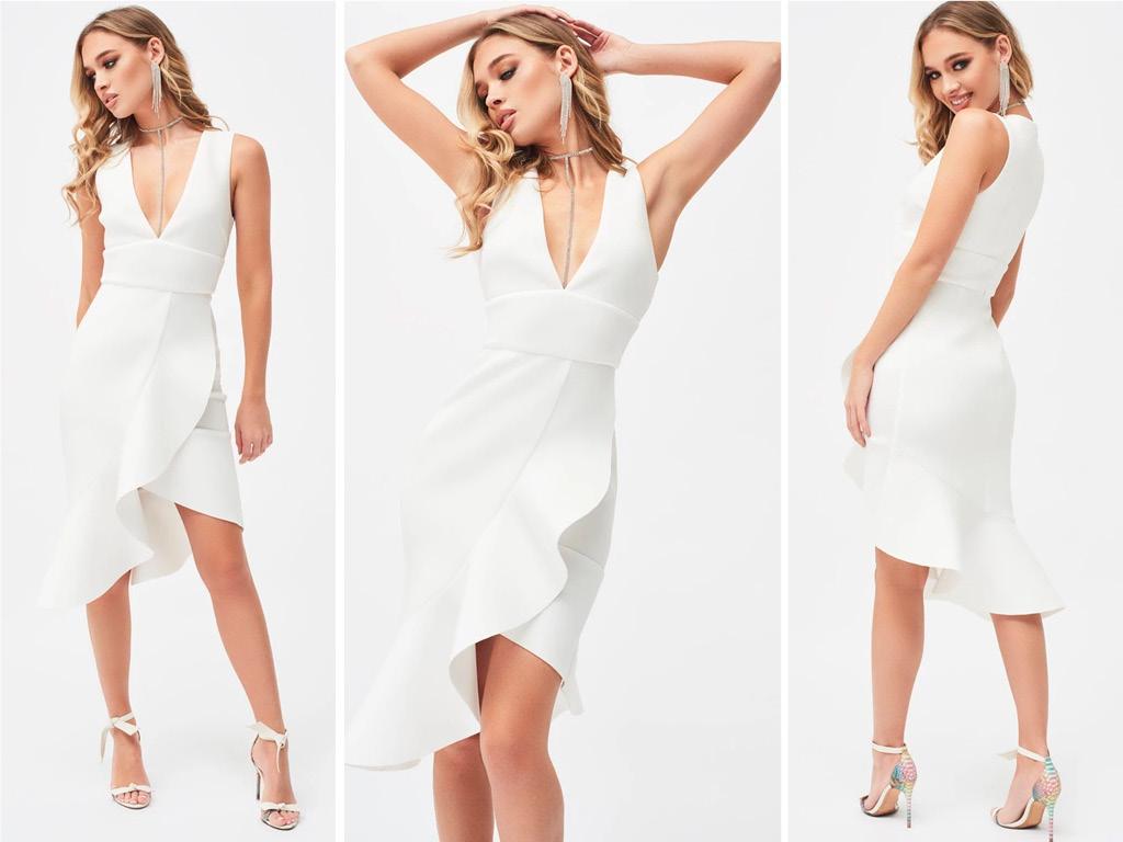 v-neck ruffle wrap scuba dress in white
