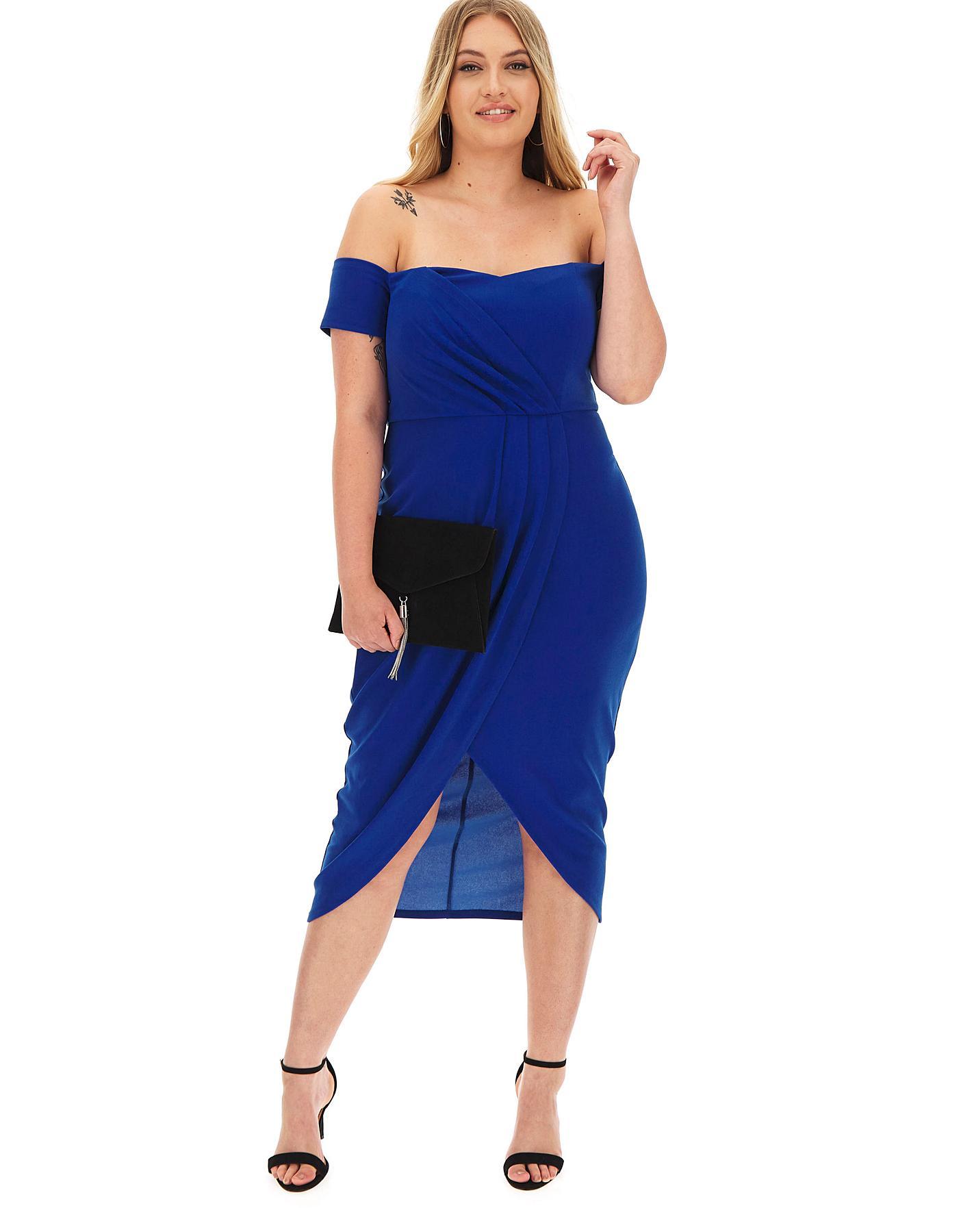 Cobalt Bardot Wrap Midi Dress