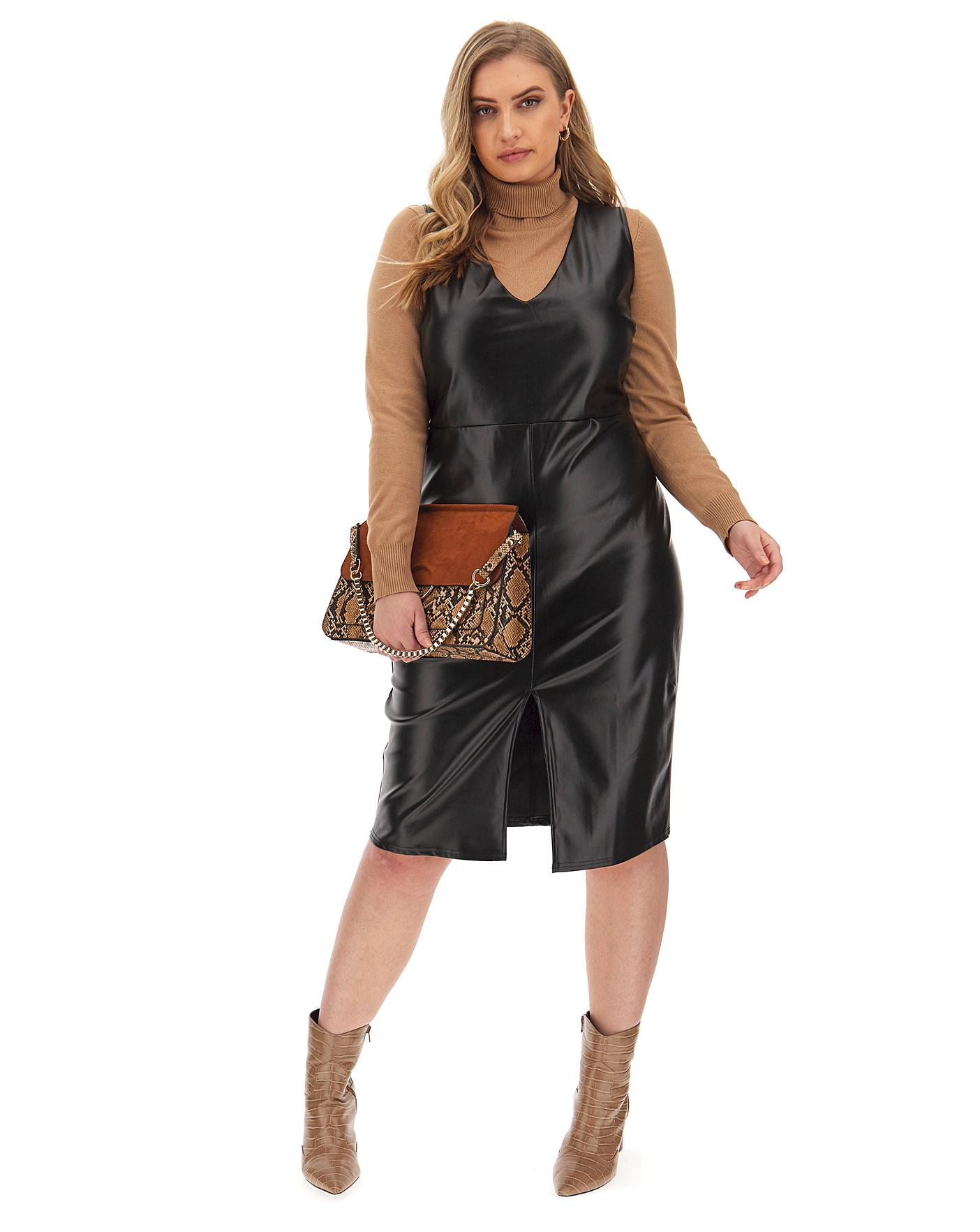 Faux Leather Pinafore Dress