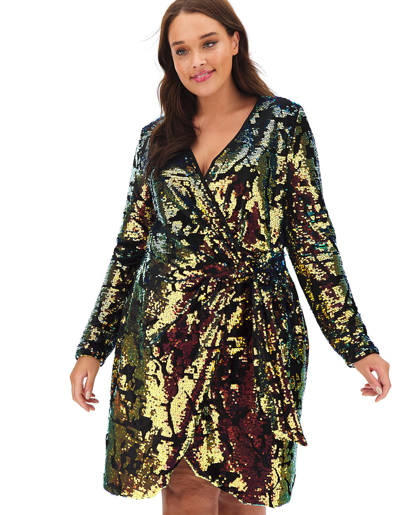 Joanna Hope Velour Wrap Sequin Dress - Simply be dresses