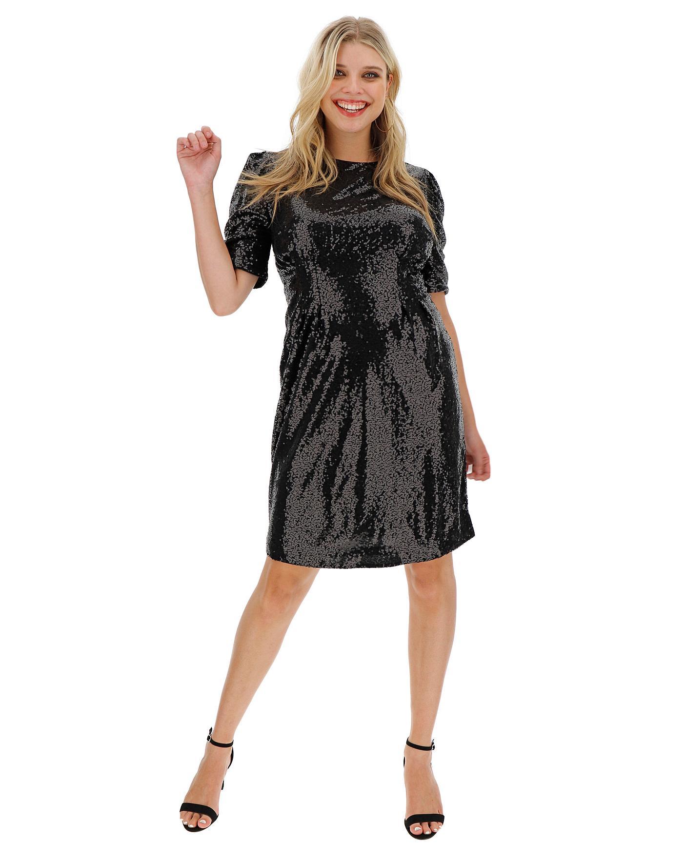 Sequin Glitter Ponte Back Dress