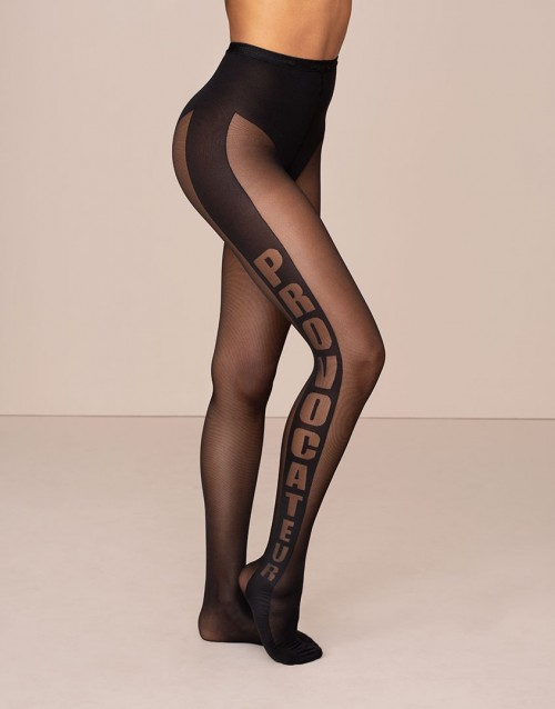 Wear Agent Provocateur loud and proud in our statement-making Jett tights. The sheer 20 denier black tights feature contrasting opaque stripes at their sides with AGENT displayed on one leg, and PROVOCATEUR on the other.