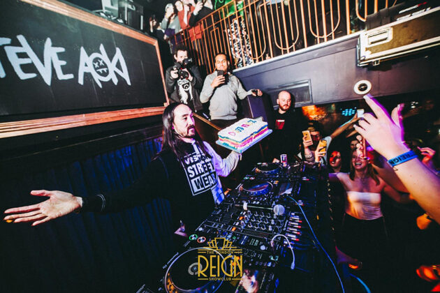 Steve Aoki performing at London REIGN