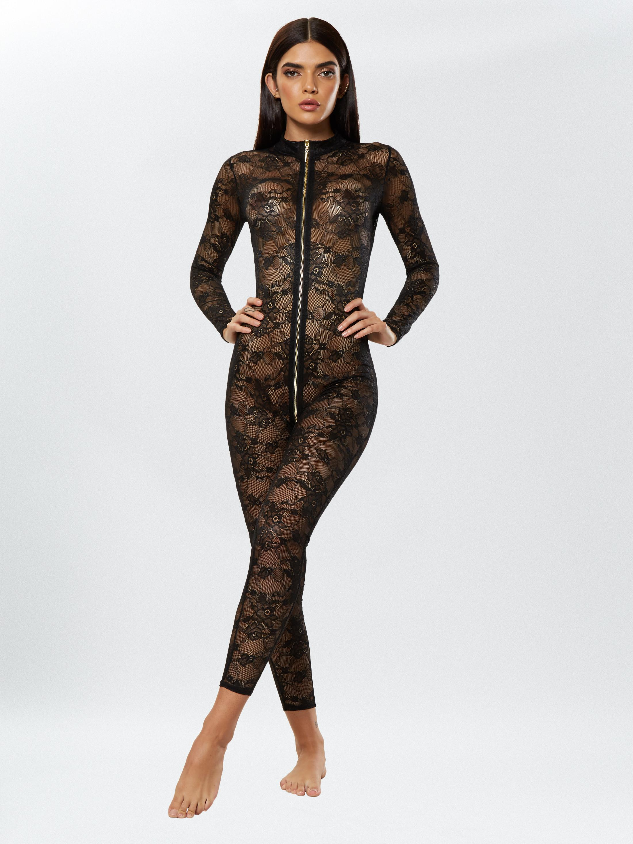 Reveal or conceal with our fashionable Sweet Fatale Bodystocking. Made with trendy sheer floral lace, the front is accentuated with a stylish gold zip that adds a luxurious finish. Cut for a high neck, wear yours in or outside of the bedroom.