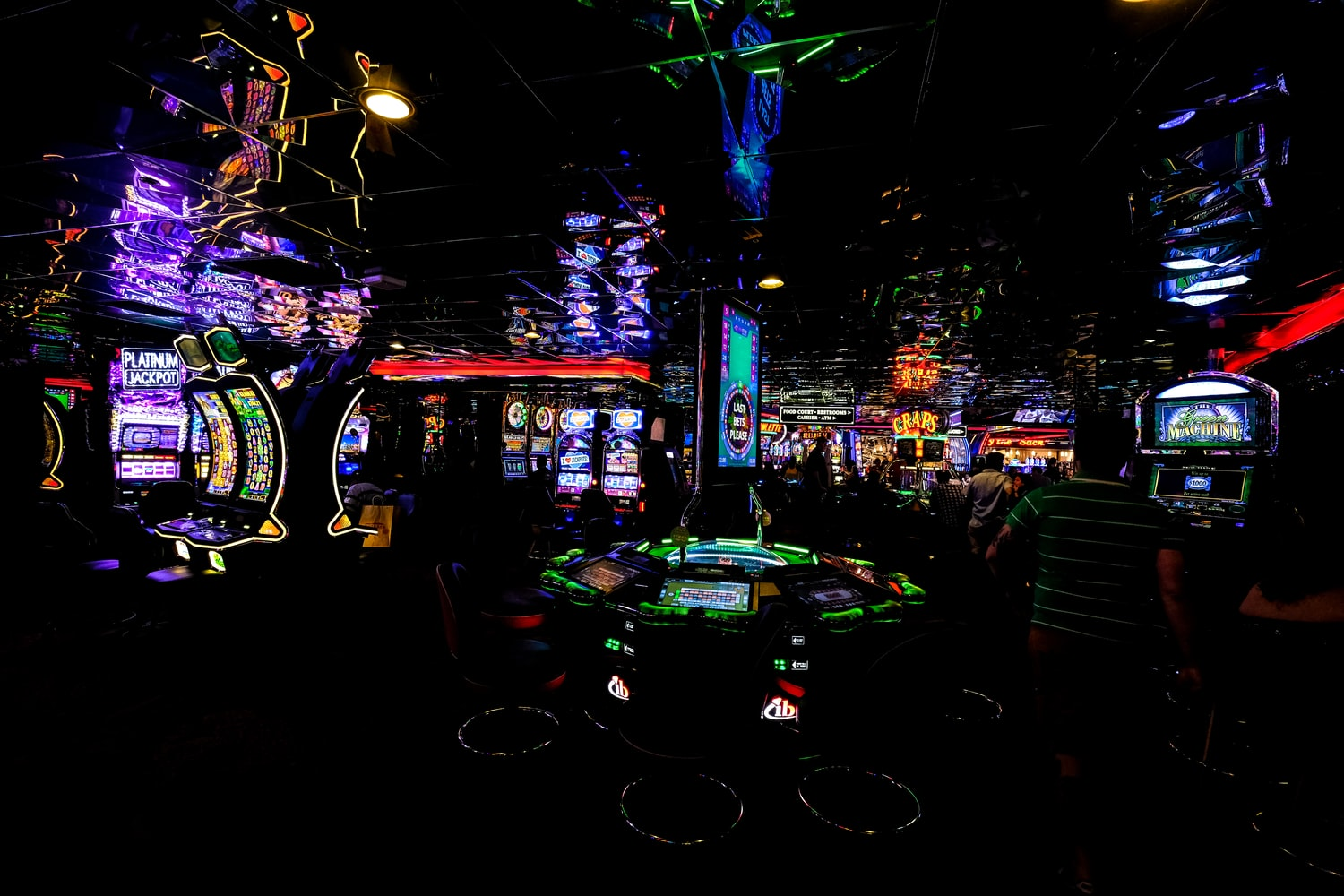 casino machines in a dark room