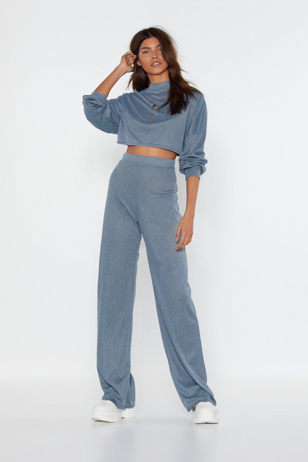 Lounge wear Back to Basics Crop Top and Trousers Lounge Set