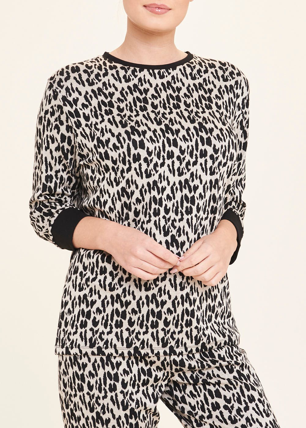 Jacquard Animal Print Sweatshirt