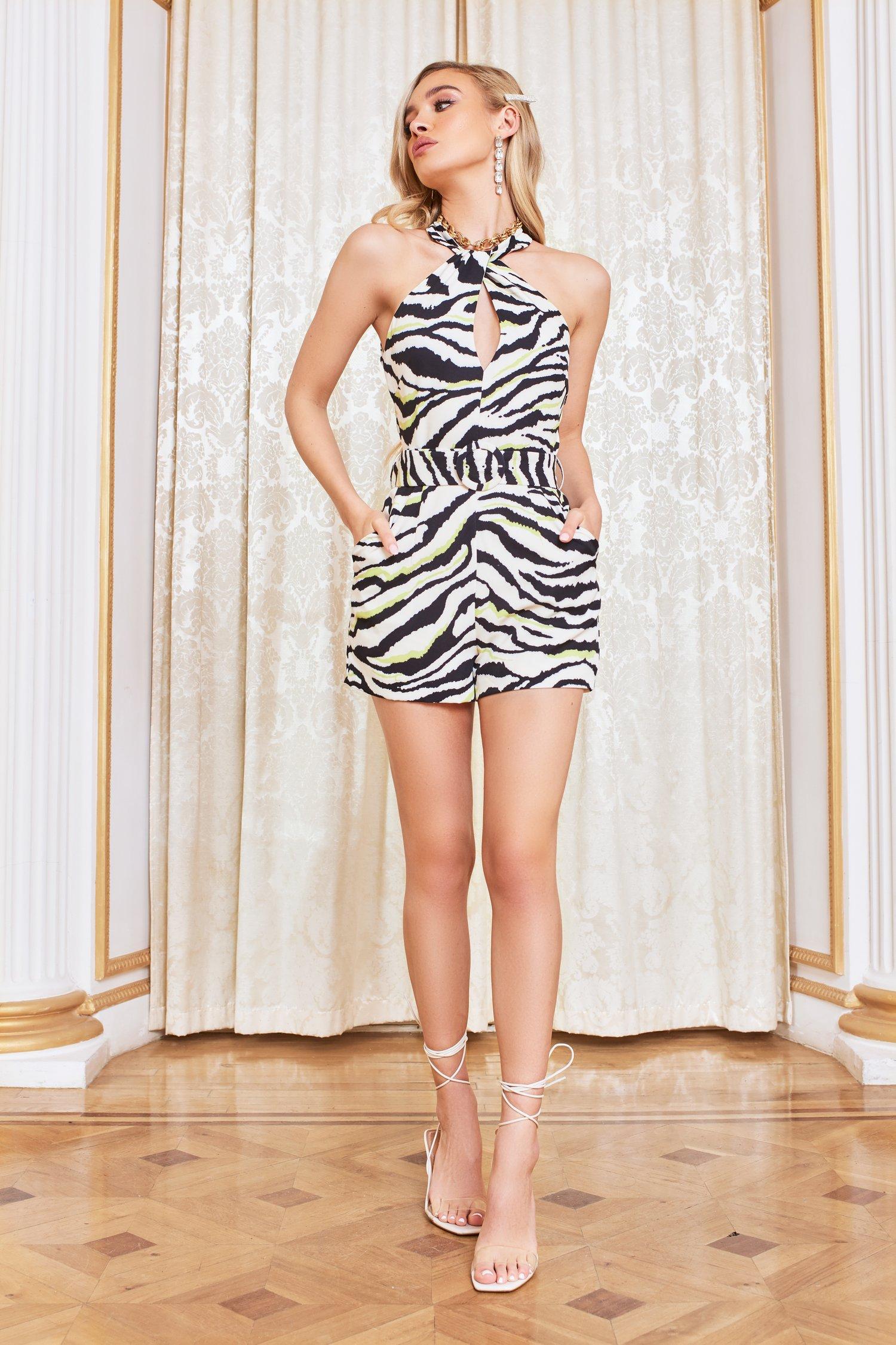 pre-order halter neck playsuit in zebra print
