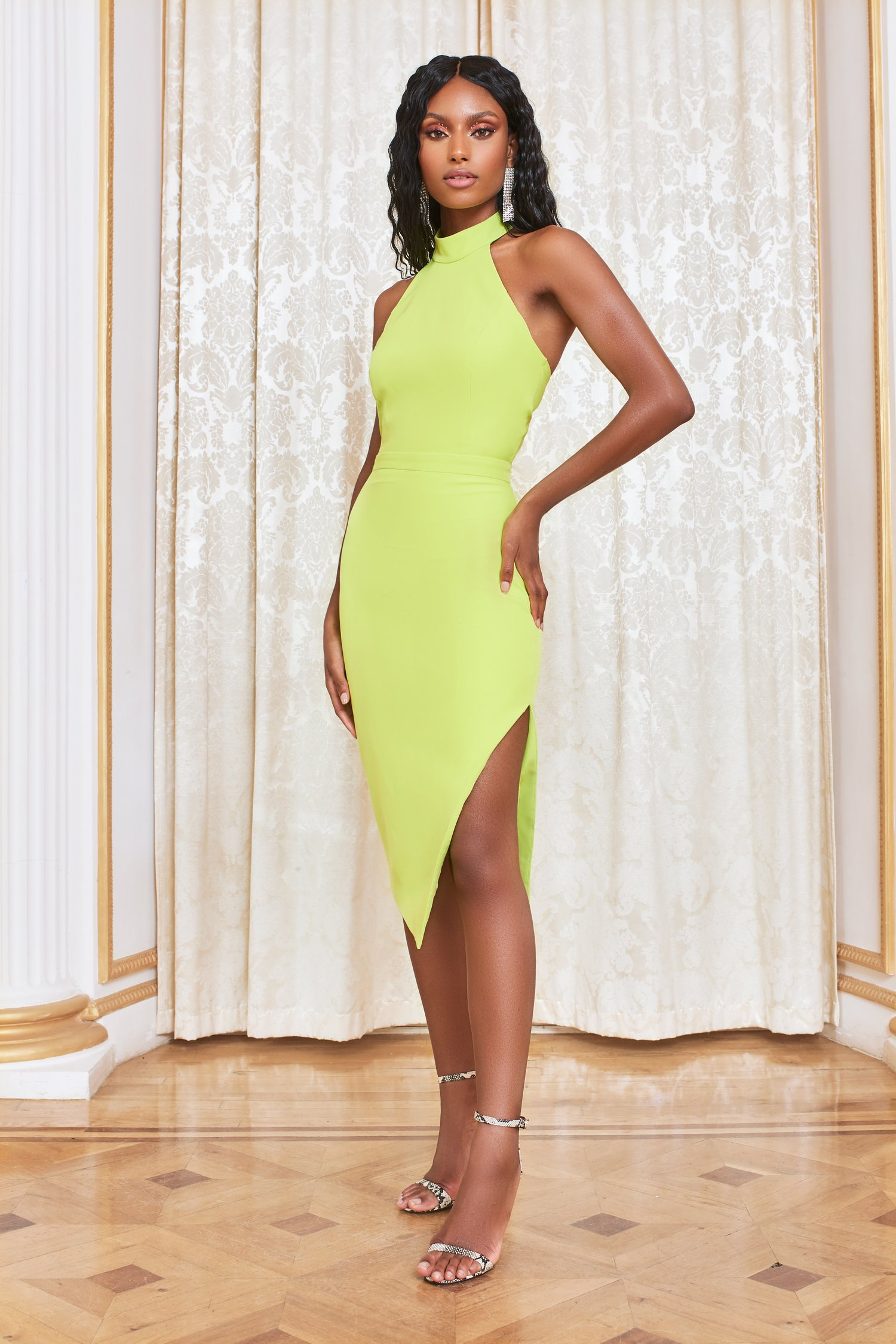 pre-order self-tie back midi dress in lime