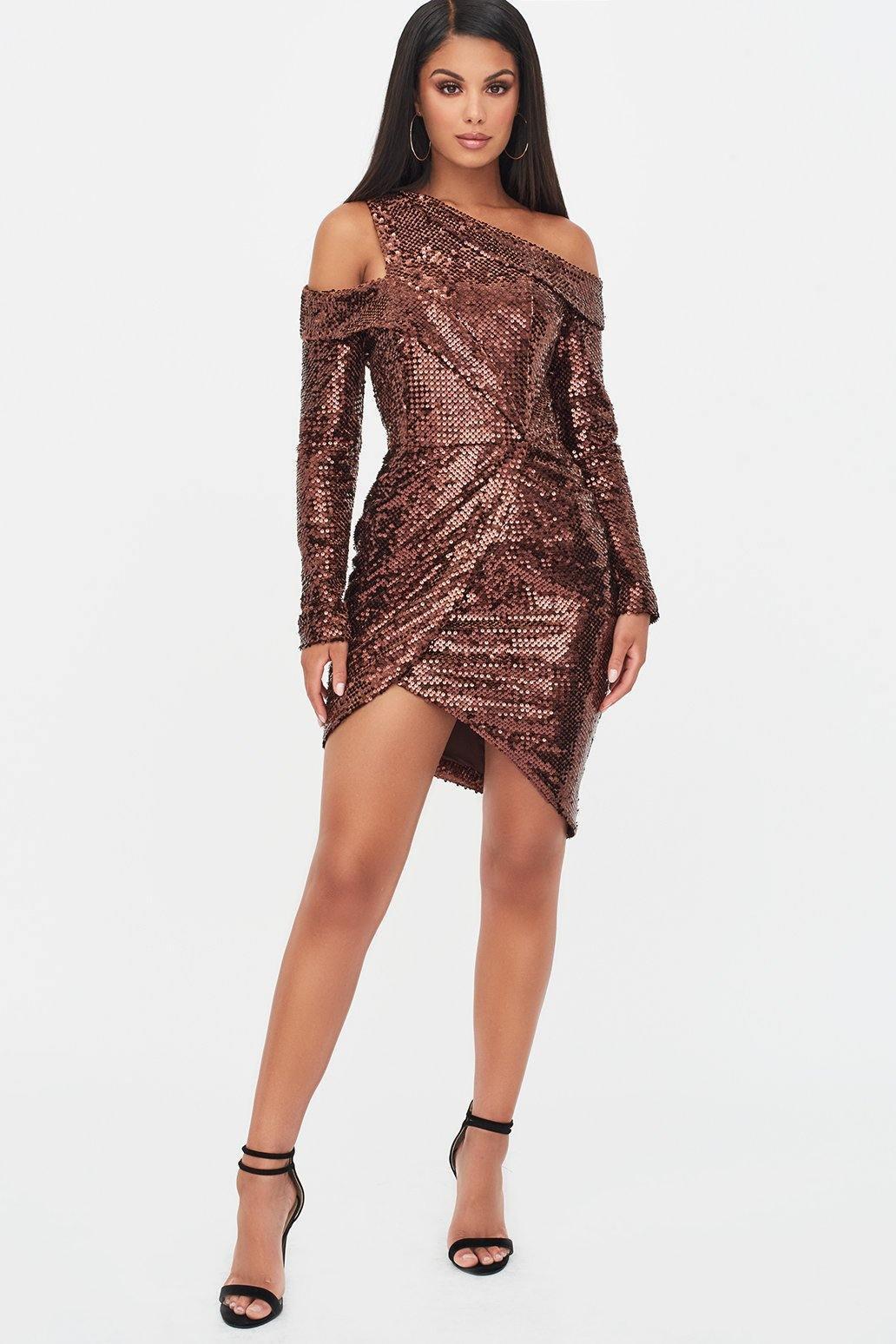 Lavish Alice Sale velvet sequin cut out wrap dress in chocolate