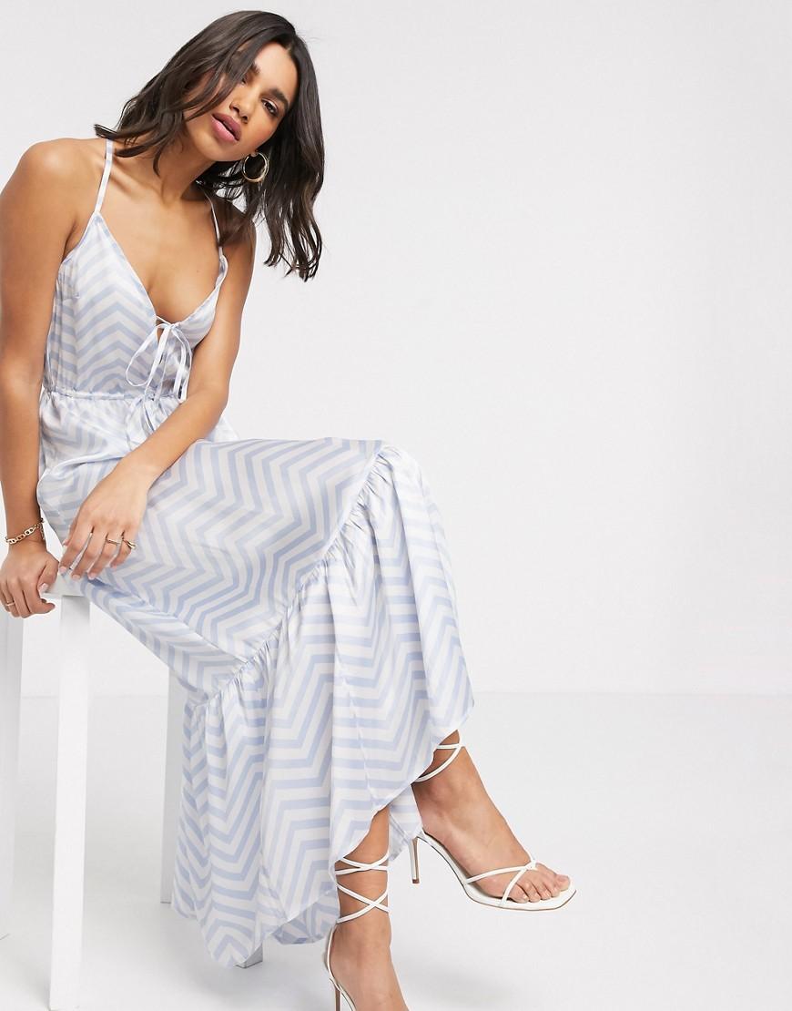 ASOS DESIGN cami tiered maxi dress in stripe