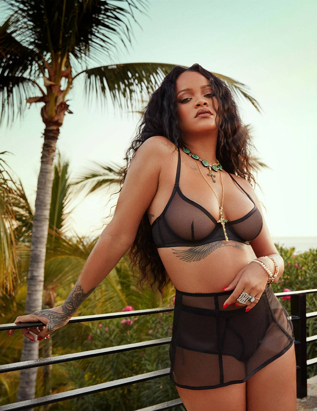 Lingerie designer Rihanna appears in Savage x Adam Selman Neon Nights campaign.