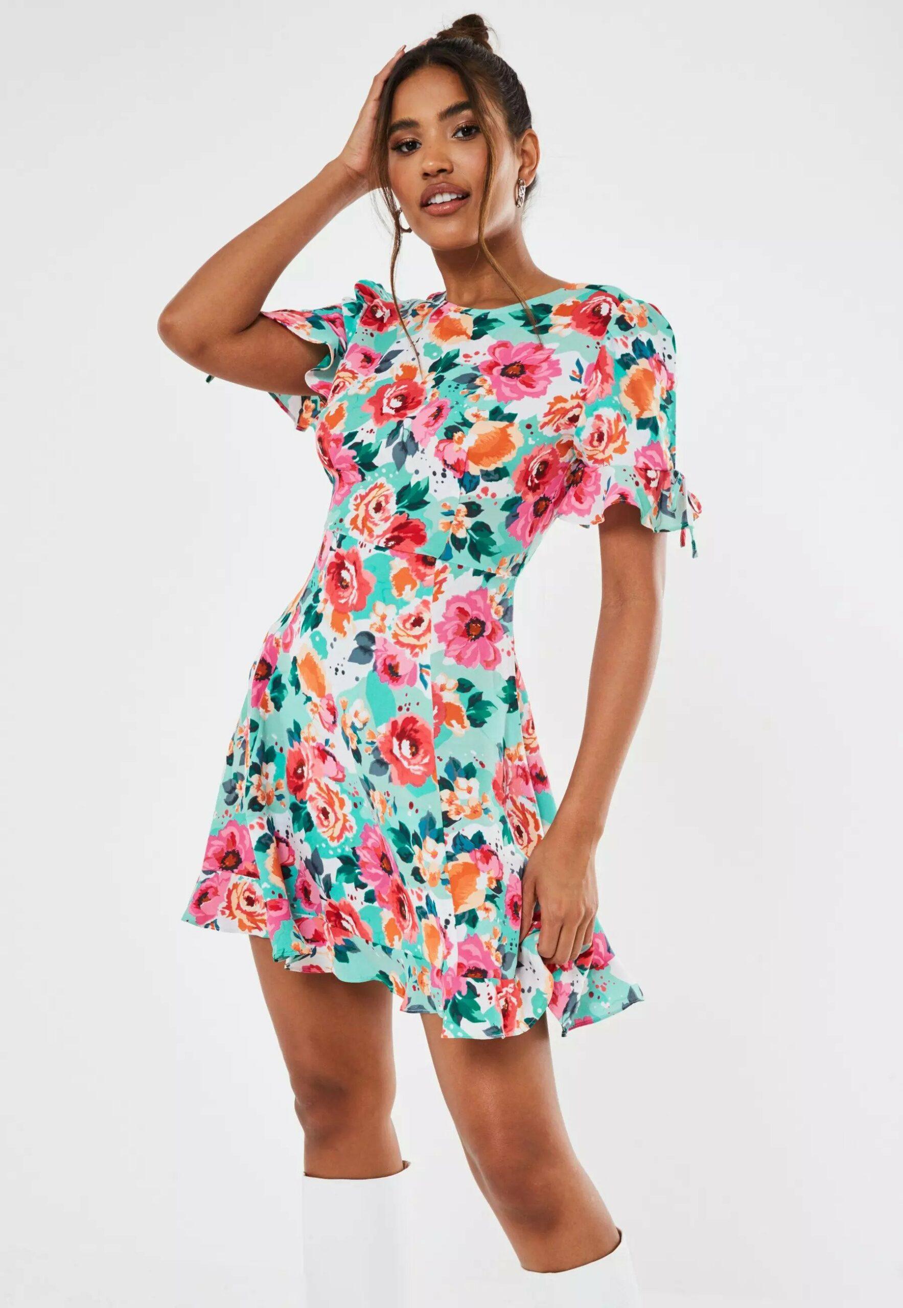 Summer dress - pink floral ruffle a line mini dress