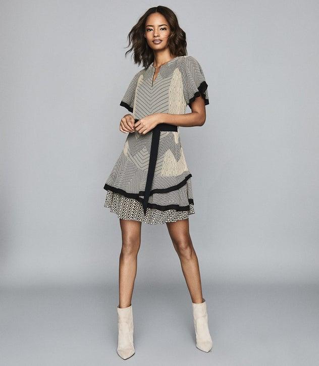 Reiss Sale HANNAH PRINTED MINI DRESS BLACK:NEUTRAL