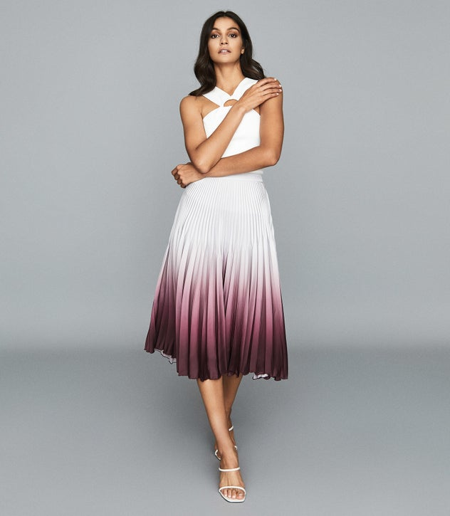 MARLIE OMBRE PLEATED MIDI SKIRT SILVER