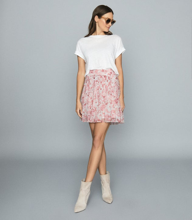 ORIELLE FLORAL PRINTED MINI SKIRT PINK PRINT