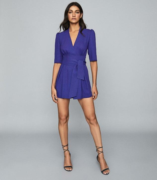 Reiss Dress UMA WRAP-TIE PLAYSUIT BLUE