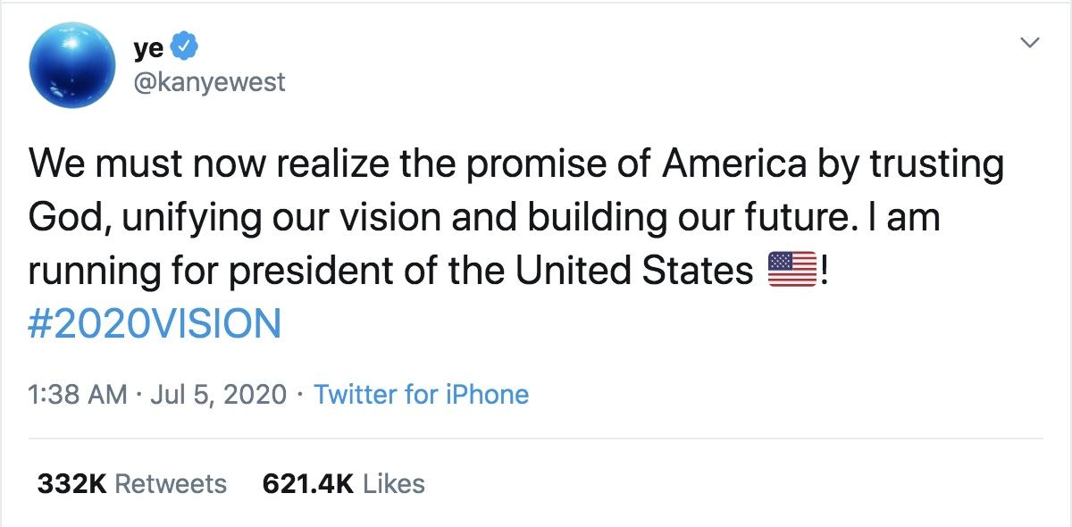 Kanye West President tweet