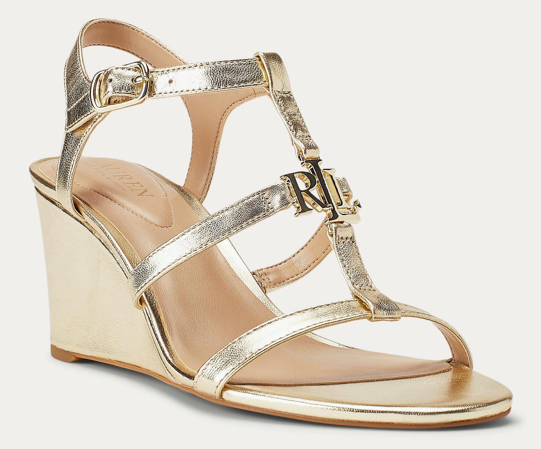 Lauren Charlton Metallic Wedge Sandal Pale Gold