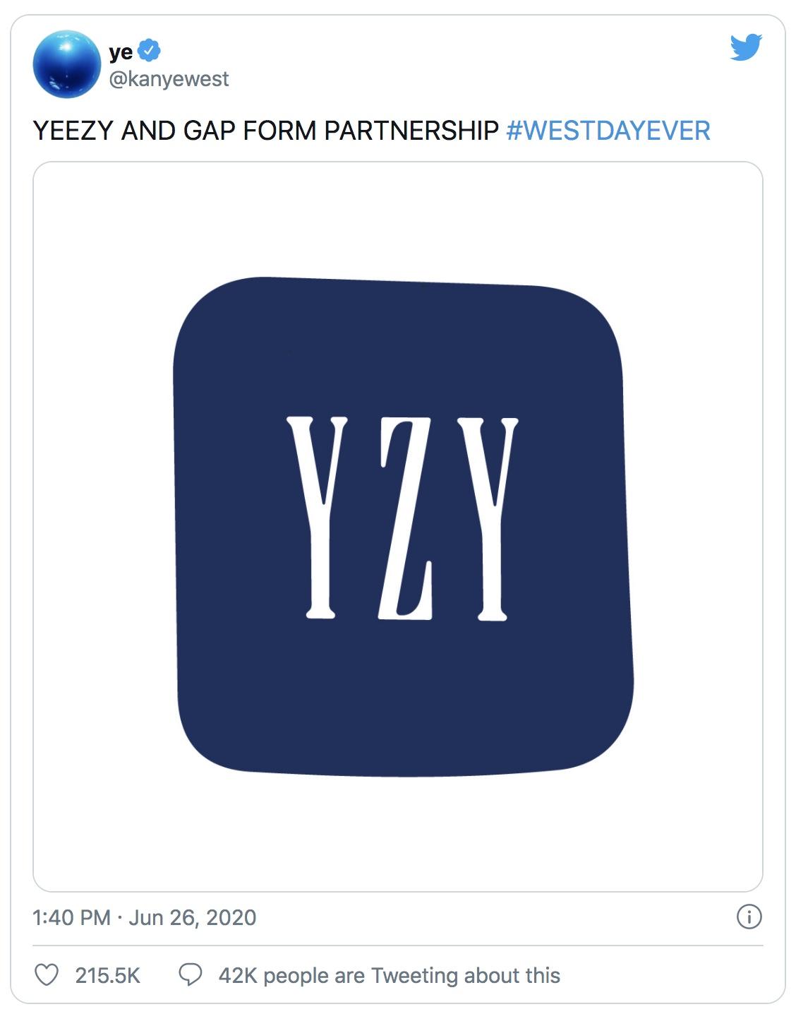 Yeezy x Gap collab announcement