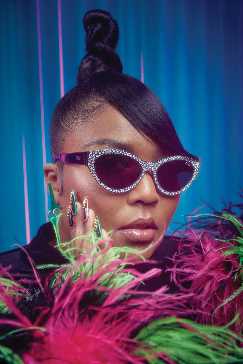 Lizzo models Totally Buggin sunglasses from Quay Australia