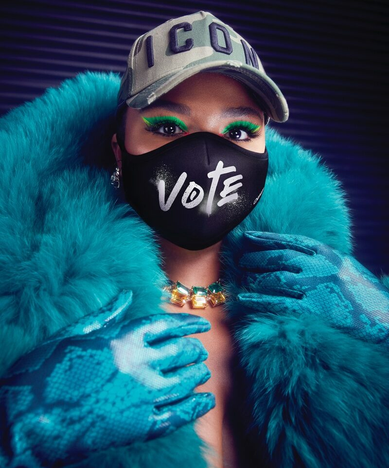 Lizzo poses in special Vote mask for Quay Australia